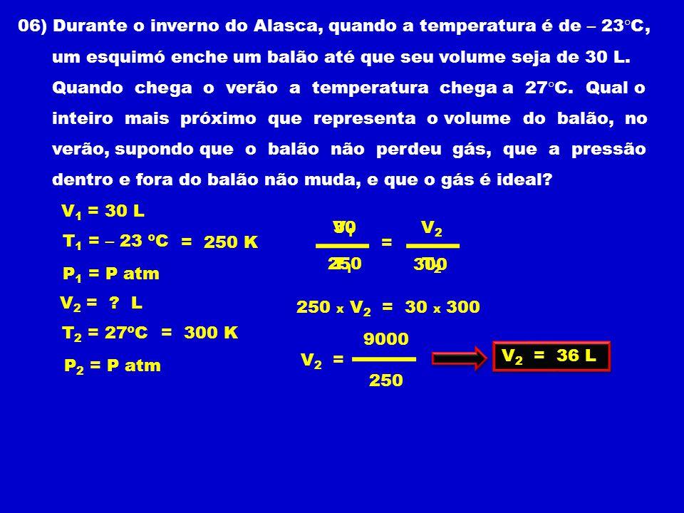 06) Durante o inverno do Alasca, quando a temperatura é de – 23°C, um esquimó enche um balão até que seu volume seja de 30 L.