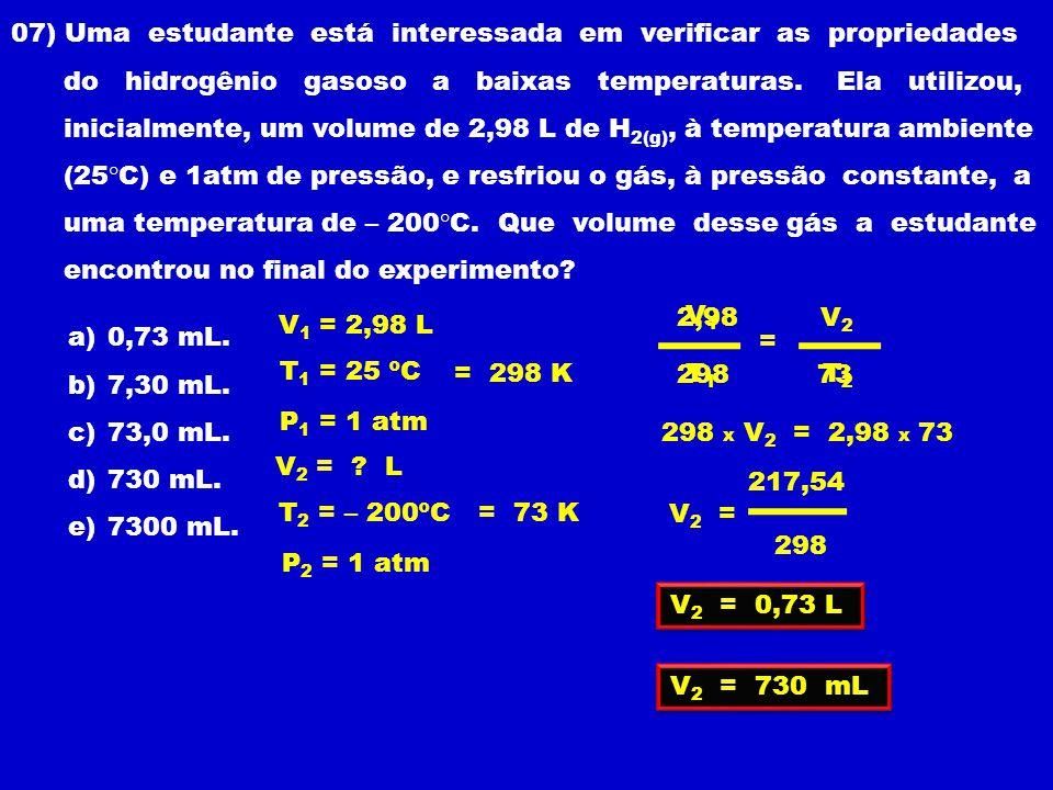 07) Uma estudante está interessada em verificar as propriedades do hidrogênio gasoso a baixas temperaturas.