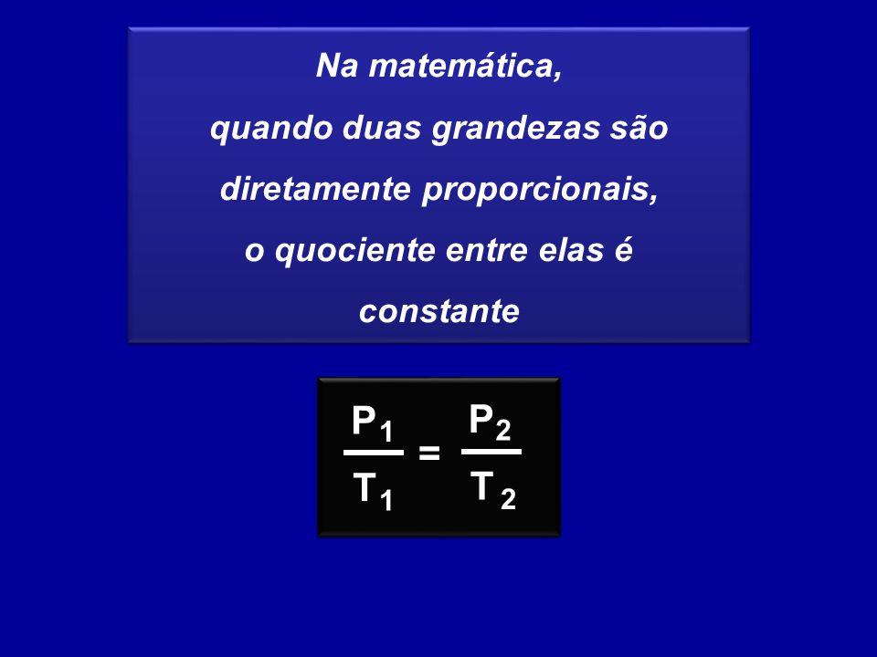 Na matemática, quando duas grandezas são diretamente proporcionais, o quociente entre elas é constante Na matemática, quando duas grandezas são diretamente proporcionais, o quociente entre elas é constante P T = 1 1 P T 2 2