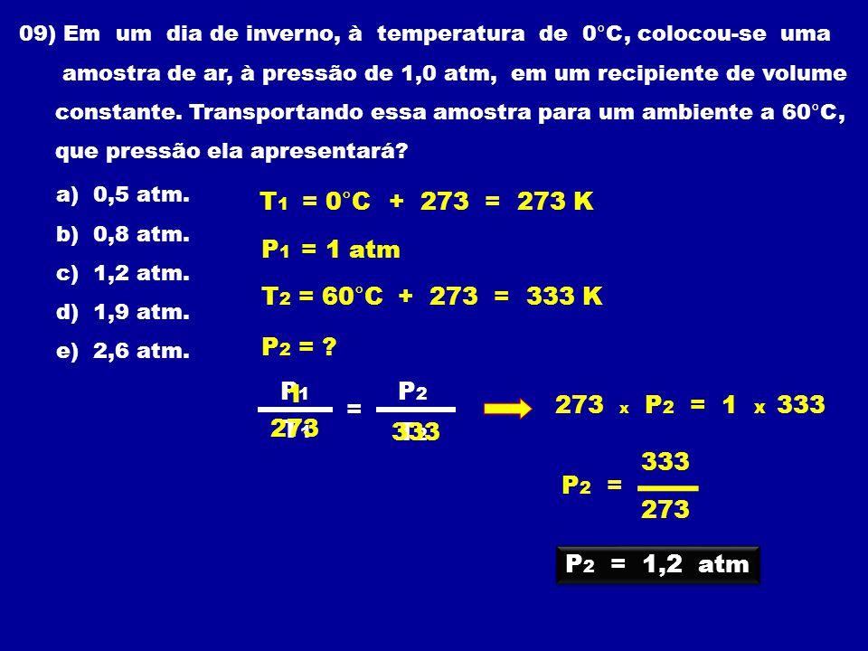 09) Em um dia de inverno, à temperatura de 0°C, colocou-se uma amostra de ar, à pressão de 1,0 atm, em um recipiente de volume constante.