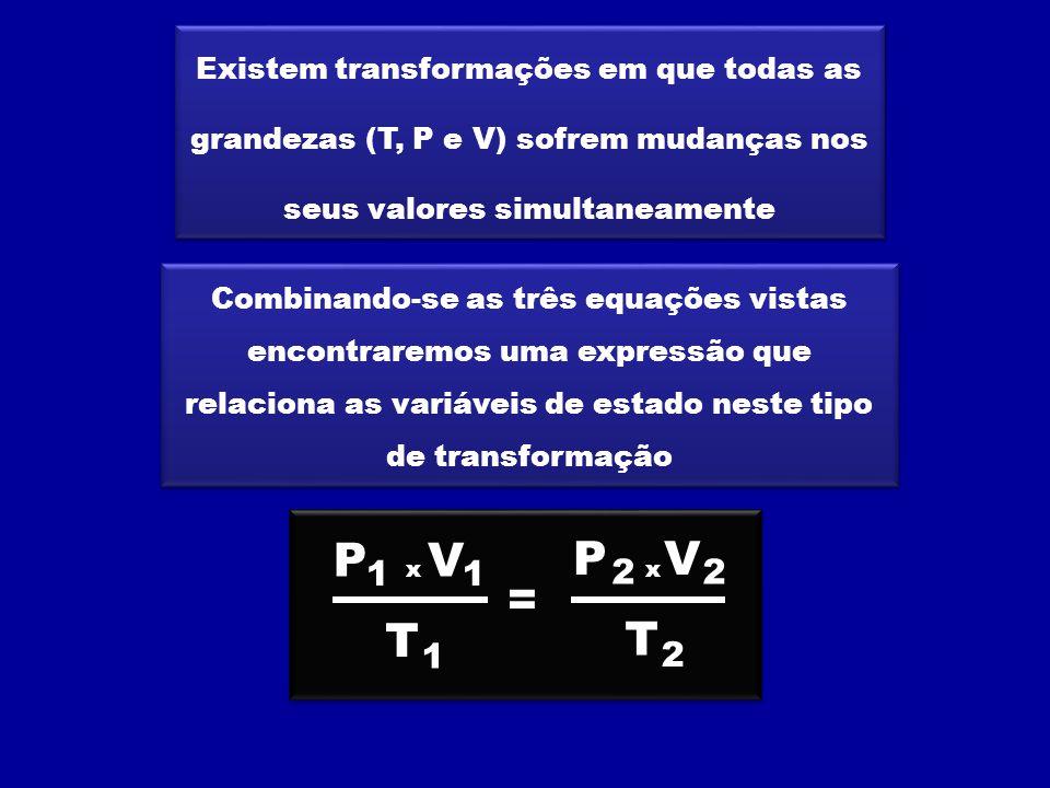 Existem transformações em que todas as grandezas (T, P e V) sofrem mudanças nos seus valores simultaneamente Combinando-se as três equações vistas encontraremos uma expressão que relaciona as variáveis de estado neste tipo de transformação V T = 1 1 V T 2 2 P 1 P 2 xx