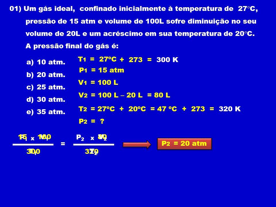 01) Um gás ideal, confinado inicialmente à temperatura de 27°C, pressão de 15 atm e volume de 100L sofre diminuição no seu volume de 20L e um acréscimo em sua temperatura de 20°C.
