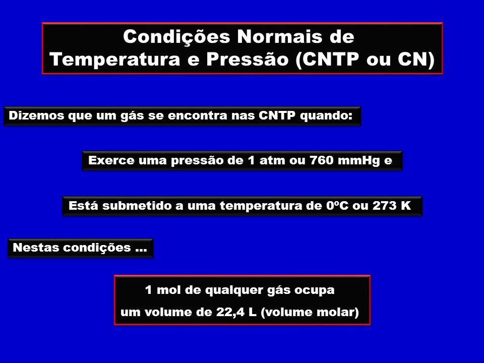 Condições Normais de Temperatura e Pressão (CNTP ou CN) Condições Normais de Temperatura e Pressão (CNTP ou CN) Dizemos que um gás se encontra nas CNTP quando: Exerce uma pressão de 1 atm ou 760 mmHg e Está submetido a uma temperatura de 0ºC ou 273 K Nestas condições...