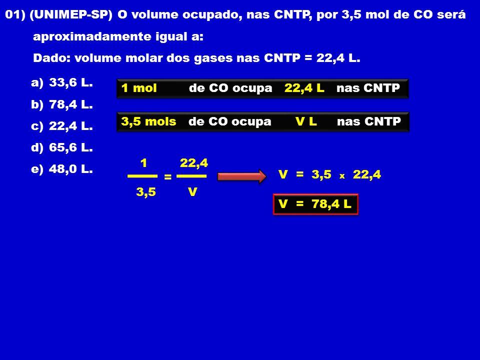 01) (UNIMEP-SP) O volume ocupado, nas CNTP, por 3,5 mol de CO será aproximadamente igual a: Dado: volume molar dos gases nas CNTP = 22,4 L.