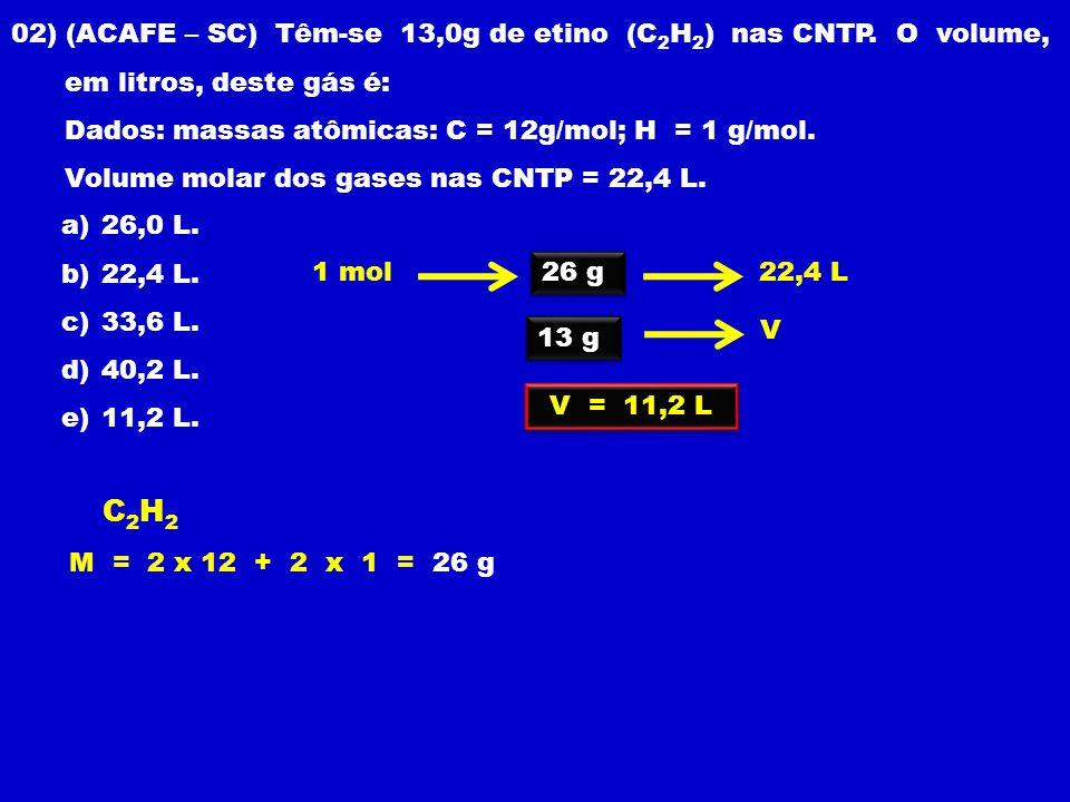 02) (ACAFE – SC) Têm-se 13,0g de etino (C 2 H 2 ) nas CNTP.