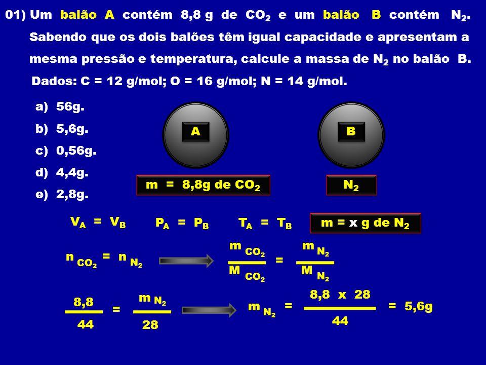 01) Um balão A contém 8,8 g de CO 2 e um balão B contém N 2.