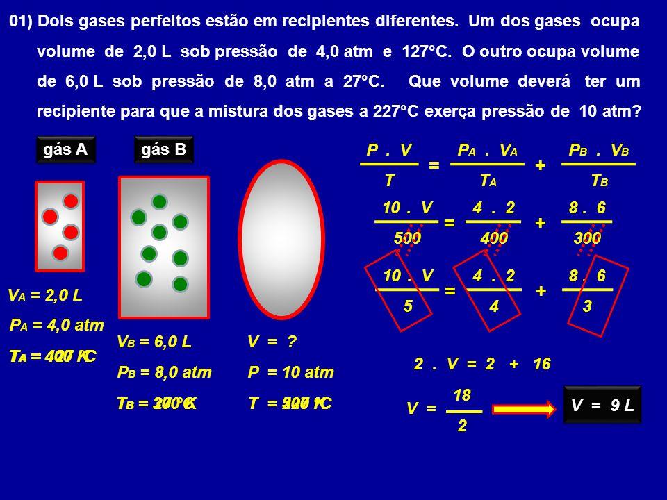 01) Dois gases perfeitos estão em recipientes diferentes.