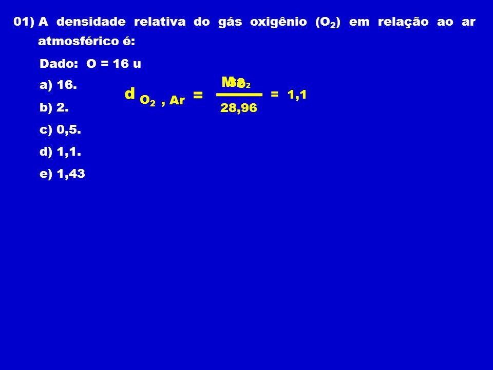 01) A densidade relativa do gás oxigênio (O 2 ) em relação ao ar atmosférico é: Dado: O = 16 u a) 16.