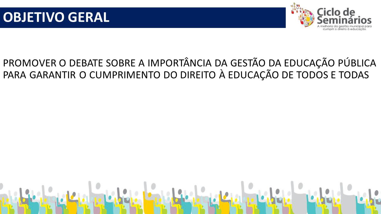 OBJETIVOS ESPECÍFICOS QUALIFICAR O PROCESSO DA GESTÃO DA EDUCAÇÃO PÚBLICA BRASILEIRA; DIVULGAR POLÍTICAS E PROGRAMAS DO GOVERNO FEDERAL, PROMOVENDO O RESPECTIVO DEBATE; DIVULGAR E DEBATER AÇÕES DA UNDIME E DE PARCEIROS INSTITUCIONAIS; ORIENTAR OS MUNICÍPIOS PARA A ELABORAÇÃO DOS PLANOS DE CARREIRA DOS PROFISSIONAIS DA EDUCAÇÃO E DOS PLANOS MUNICIPAIS DE EDUCAÇÃO.