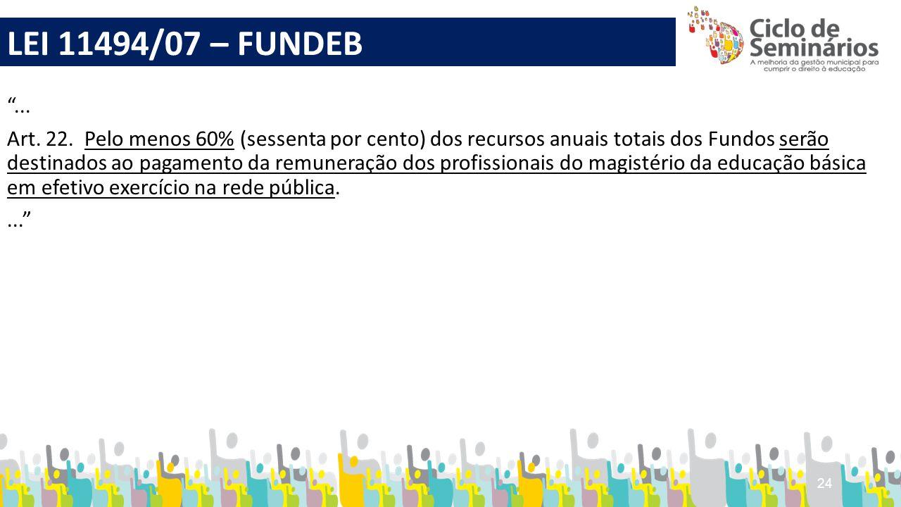 """24 """"... Art. 22. Pelo menos 60% (sessenta por cento) dos recursos anuais totais dos Fundos serão destinados ao pagamento da remuneração dos profission"""