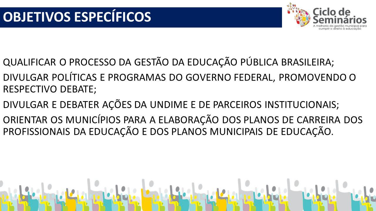 OBJETIVOS ESPECÍFICOS QUALIFICAR O PROCESSO DA GESTÃO DA EDUCAÇÃO PÚBLICA BRASILEIRA; DIVULGAR POLÍTICAS E PROGRAMAS DO GOVERNO FEDERAL, PROMOVENDO O
