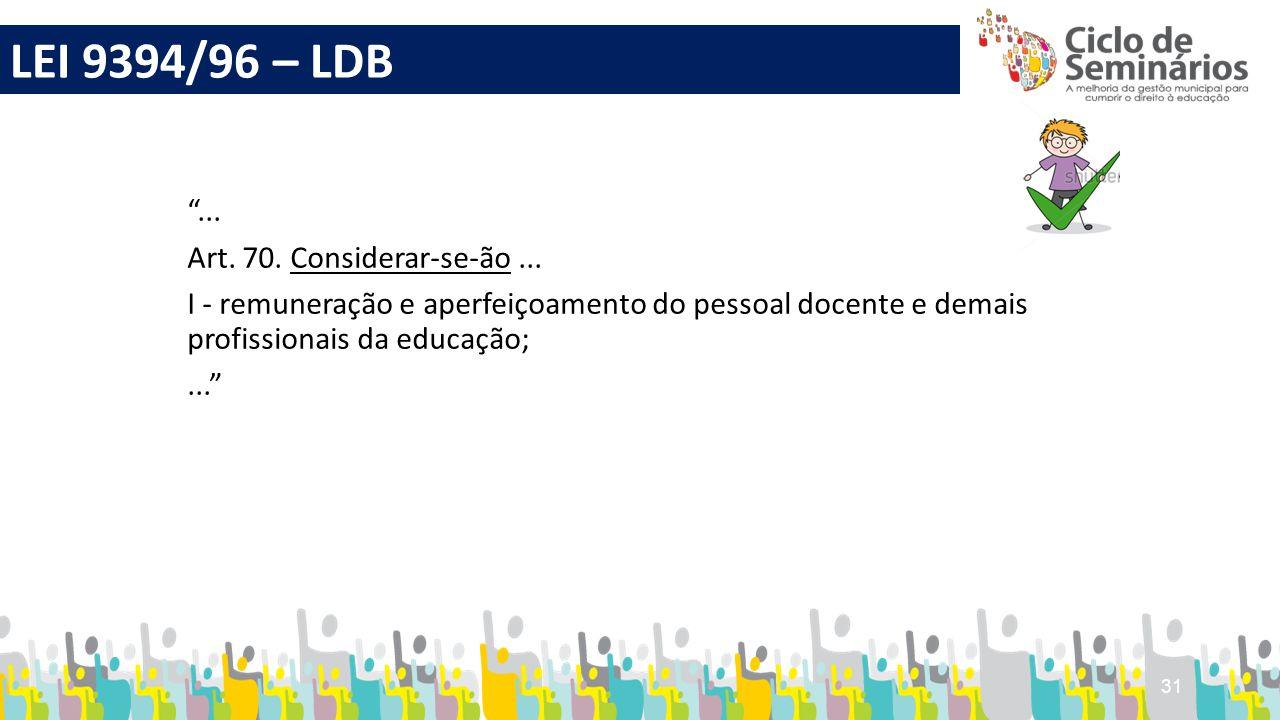 """31 """"... Art. 70. Considerar-se-ão... I - remuneração e aperfeiçoamento do pessoal docente e demais profissionais da educação;..."""" LEI 9394/96 – LDB"""
