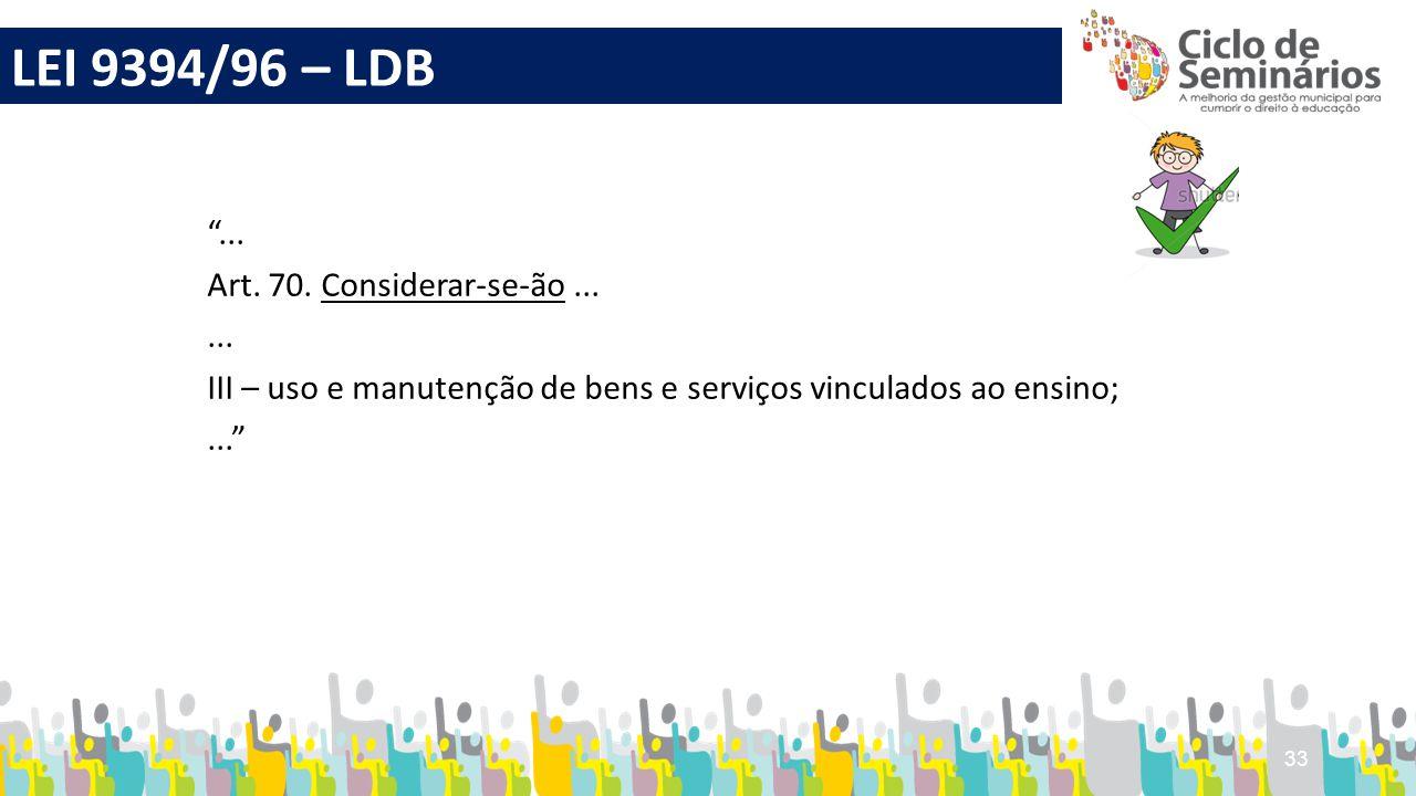 """33 """"... Art. 70. Considerar-se-ão...... III – uso e manutenção de bens e serviços vinculados ao ensino;..."""" LEI 9394/96 – LDB"""