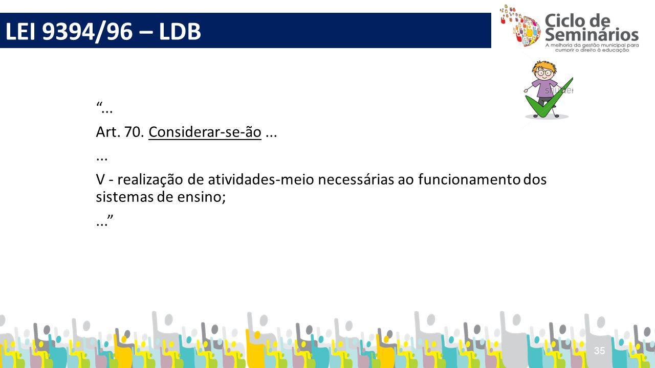 """35 """"... Art. 70. Considerar-se-ão...... V - realização de atividades-meio necessárias ao funcionamento dos sistemas de ensino;..."""" LEI 9394/96 – LDB"""