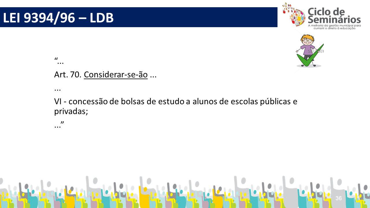 """36 """"... Art. 70. Considerar-se-ão...... VI - concessão de bolsas de estudo a alunos de escolas públicas e privadas;..."""" LEI 9394/96 – LDB"""