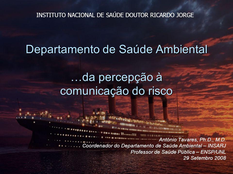 Departamento de Saúde Ambiental …da percepção à comunicação do risco António Tavares, Ph.D., M.D.