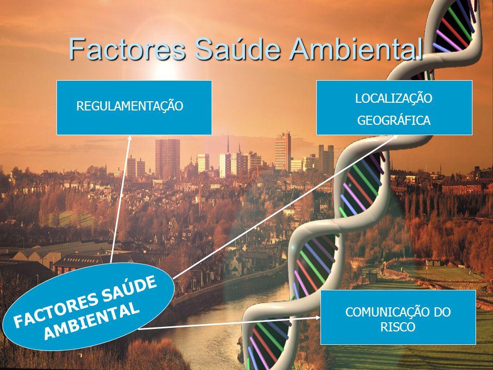Factores Saúde Ambiental REGULAMENTAÇÃO LOCALIZAÇÃO GEOGRÁFICA FACTORES SAÚDE AMBIENTAL COMUNICAÇÃO DO RISCO