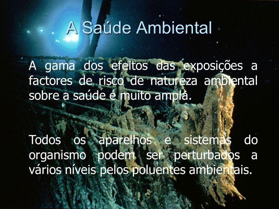 A Saúde Ambiental A gama dos efeitos das exposições a factores de risco de natureza ambiental sobre a saúde é muito ampla.