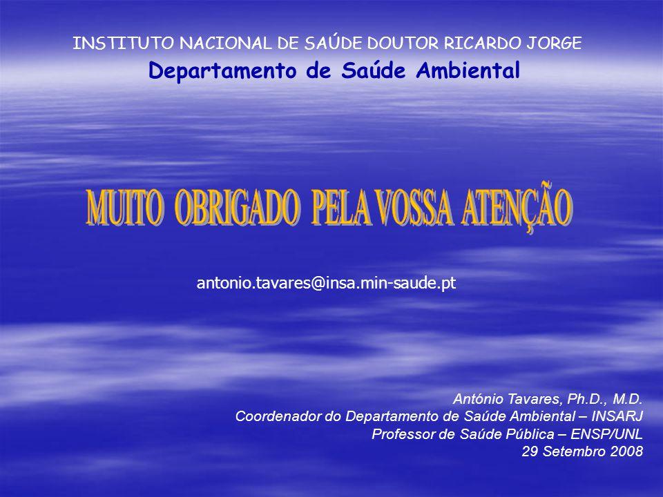 Departamento de Saúde Ambiental antonio.tavares@insa.min-saude.pt António Tavares, Ph.D., M.D.