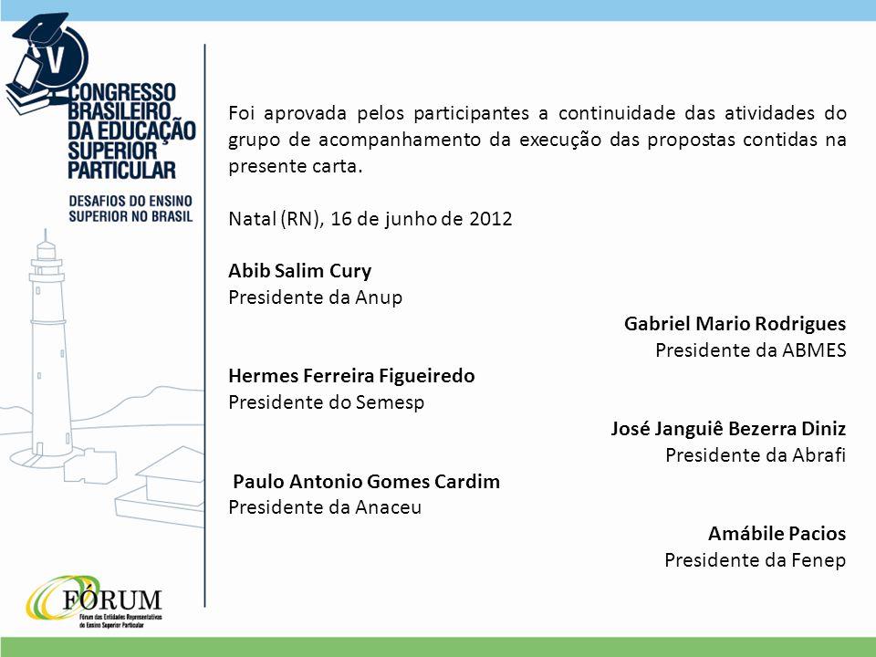 Foi aprovada pelos participantes a continuidade das atividades do grupo de acompanhamento da execução das propostas contidas na presente carta.