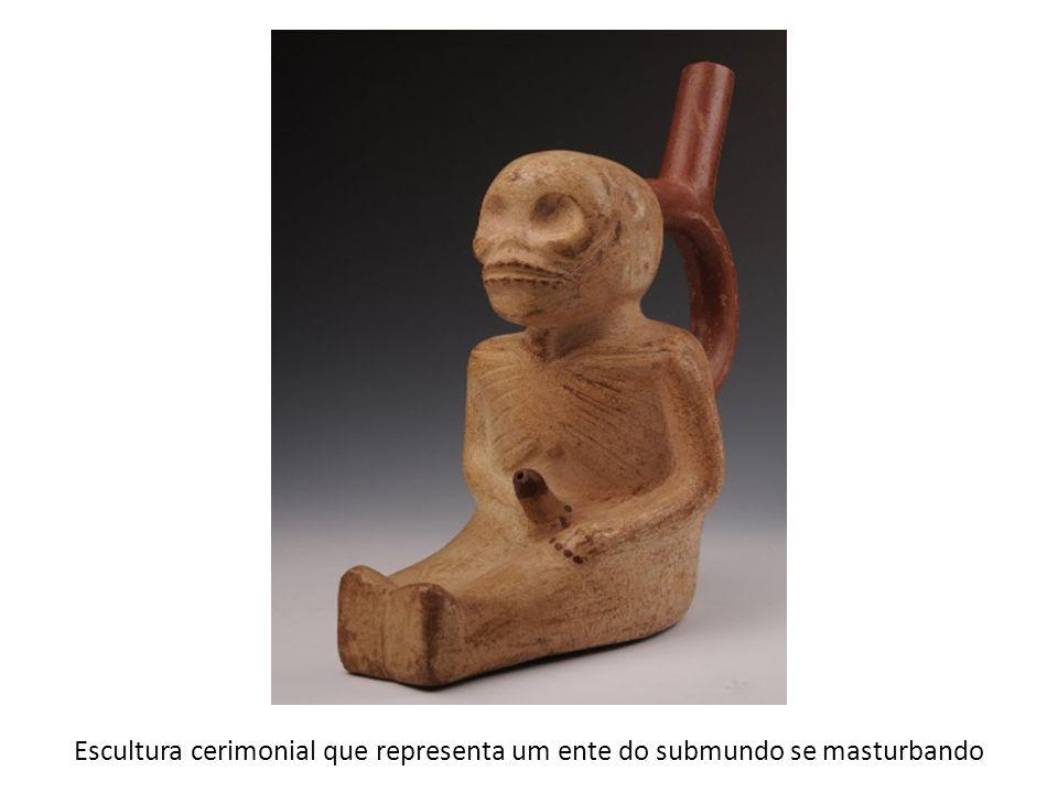 Escultura cerimonial que representa um ente do submundo se masturbando