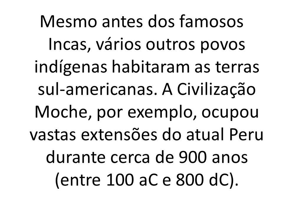 Mesmo antes dos famosos Incas, vários outros povos indígenas habitaram as terras sul-americanas. A Civilização Moche, por exemplo, ocupou vastas exten