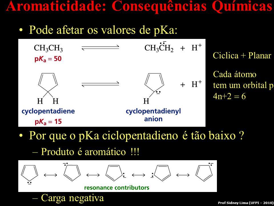 Aromaticidade: Consequências Químicas Pode afetar os valores de pKa: Por que o pKa ciclopentadieno é tão baixo ? –Produto é aromático !!! –Carga negat