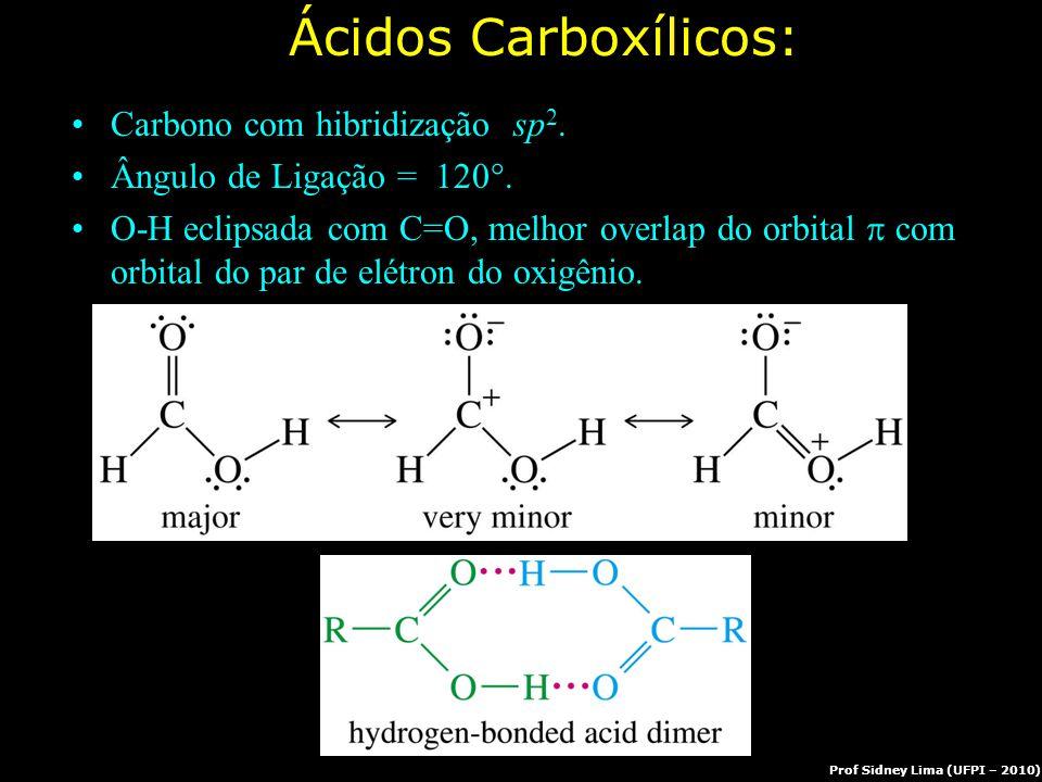 => Ácidos Carboxílicos: Carbono com hibridização sp 2. Ângulo de Ligação = 120 . O-H eclipsada com C=O, melhor overlap do orbital  com orbital do pa