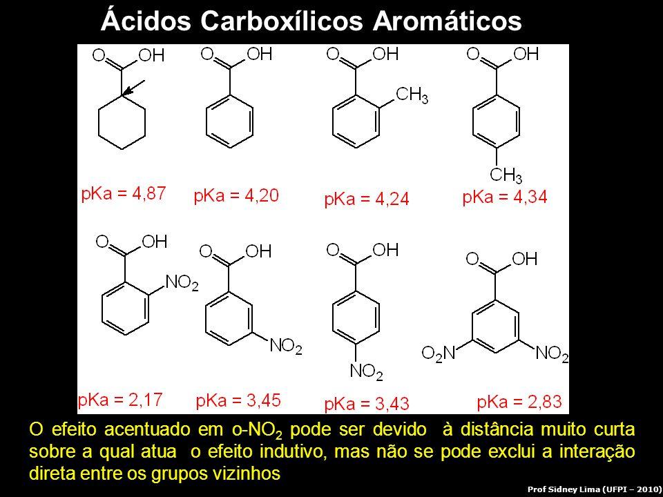 Ácidos Carboxílicos Aromáticos O efeito acentuado em o-NO 2 pode ser devido à distância muito curta sobre a qual atua o efeito indutivo, mas não se po