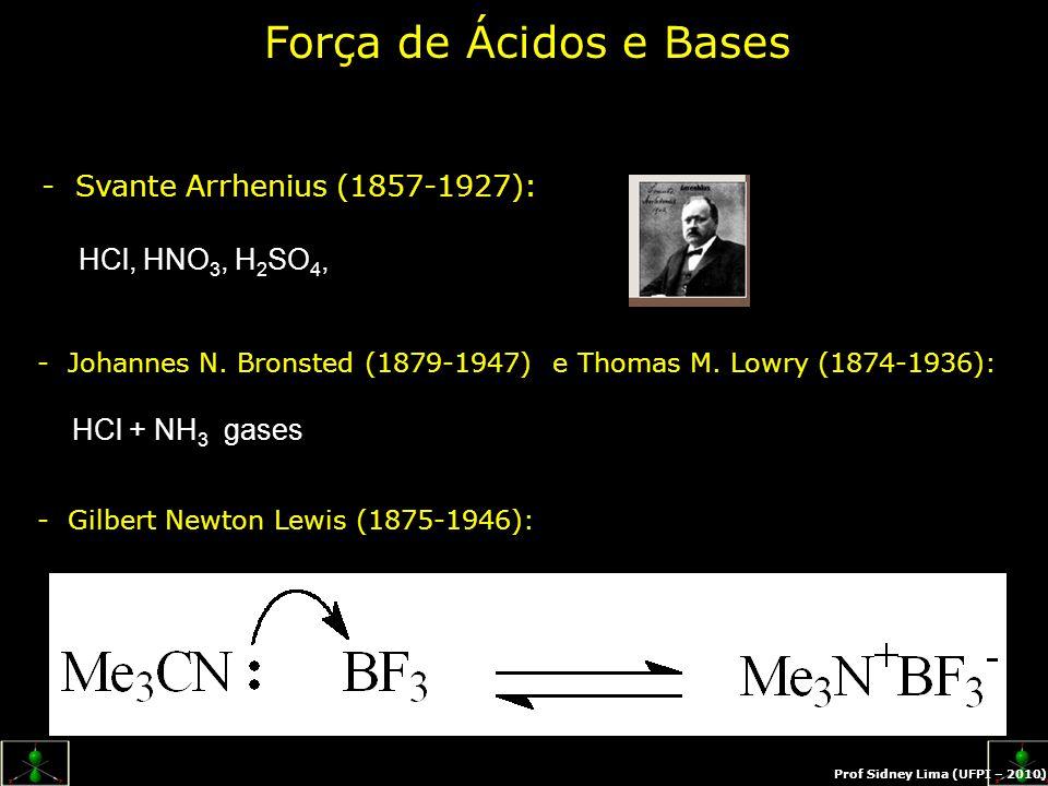 - Svante Arrhenius (1857-1927): - Johannes N. Bronsted (1879-1947) e Thomas M. Lowry (1874-1936): - Gilbert Newton Lewis (1875-1946): Força de Ácidos