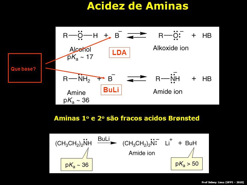 Que base? LDA BuLi Acidez de Aminas Aminas 1 o e 2 o são fracos acidos Brønsted Prof Sidney Lima (UFPI – 2010)