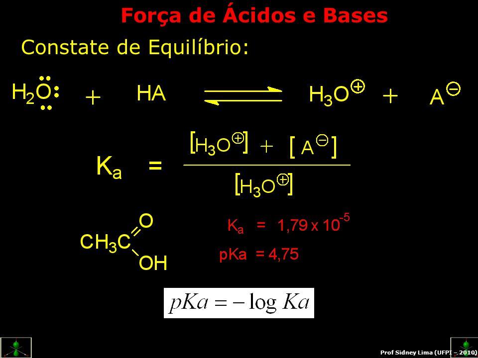 Efeito nivelador da água  Ácidos muito fracos: pka > 16 A concentração de H 3 O + produzida é menor que a autólise da água:  Ácidos muito fortes: pka muito baixo Dissociam-se completamente em água; Ex.: HCl, HNO 3, HClO 4, formam H 3 O + Exercício: Qual a diferença entre Tautômeros e Estruturas de Ressonância?