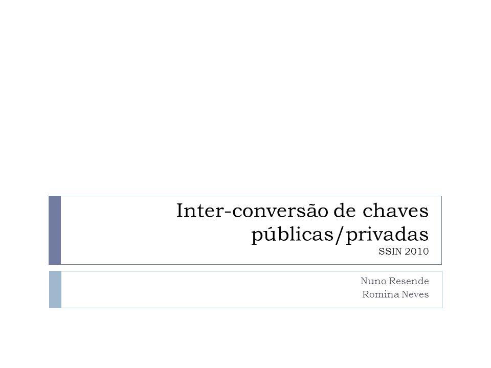 Motivação 18-12-2014Interconversão de chaves públicas/privadas2  evitar a geração de novas chaves publicas/privadas para serviços de um mesmo utilizador (e.g.