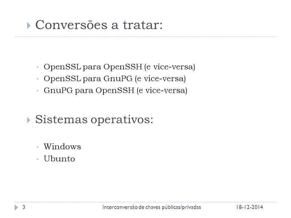 18-12-2014Interconversão de chaves públicas/privadas3  Conversões a tratar: OpenSSL para OpenSSH (e vice-versa) OpenSSL para GnuPG (e vice-versa) GnuPG para OpenSSH (e vice-versa)  Sistemas operativos: Windows Ubunto