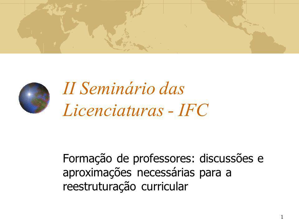 II Seminário das Licenciaturas - IFC Formação de professores: discussões e aproximações necessárias para a reestruturação curricular 1