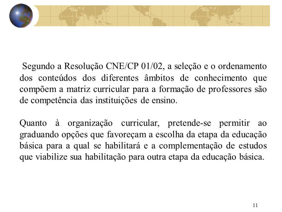 11 Segundo a Resolução CNE/CP 01/02, a seleção e o ordenamento dos conteúdos dos diferentes âmbitos de conhecimento que compõem a matriz curricular pa
