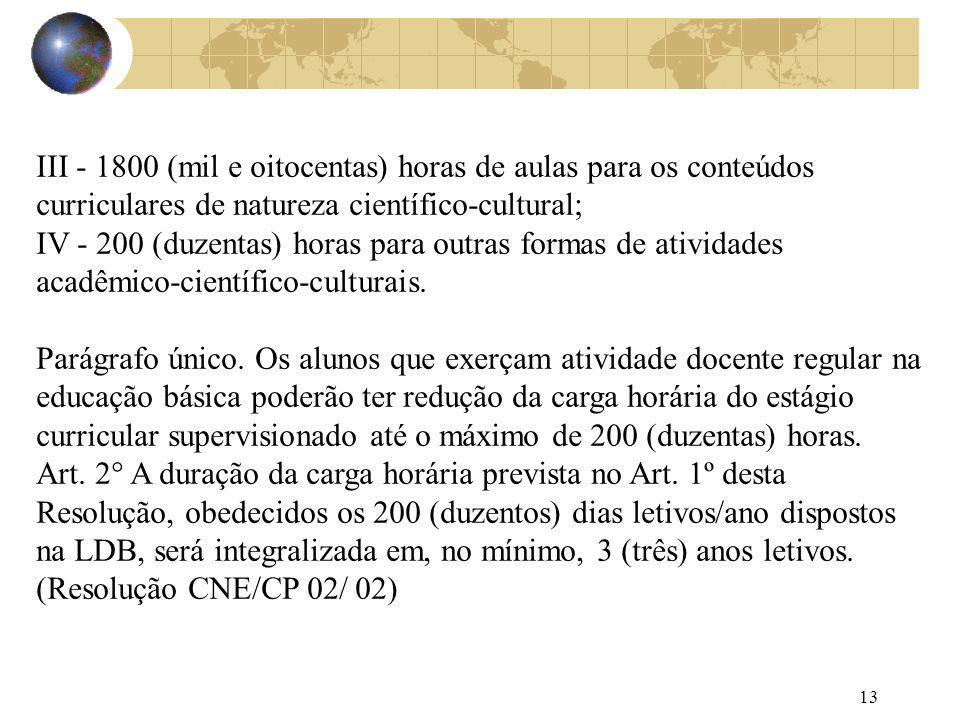 13 III - 1800 (mil e oitocentas) horas de aulas para os conteúdos curriculares de natureza científico-cultural; IV - 200 (duzentas) horas para outras