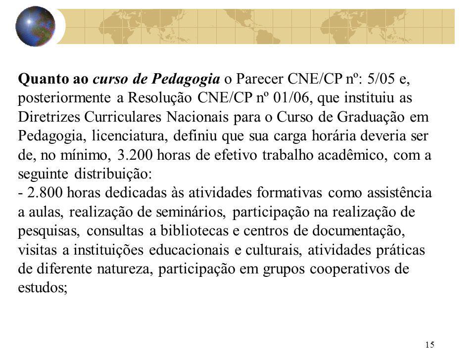 15 Quanto ao curso de Pedagogia o Parecer CNE/CP nº: 5/05 e, posteriormente a Resolução CNE/CP nº 01/06, que instituiu as Diretrizes Curriculares Naci
