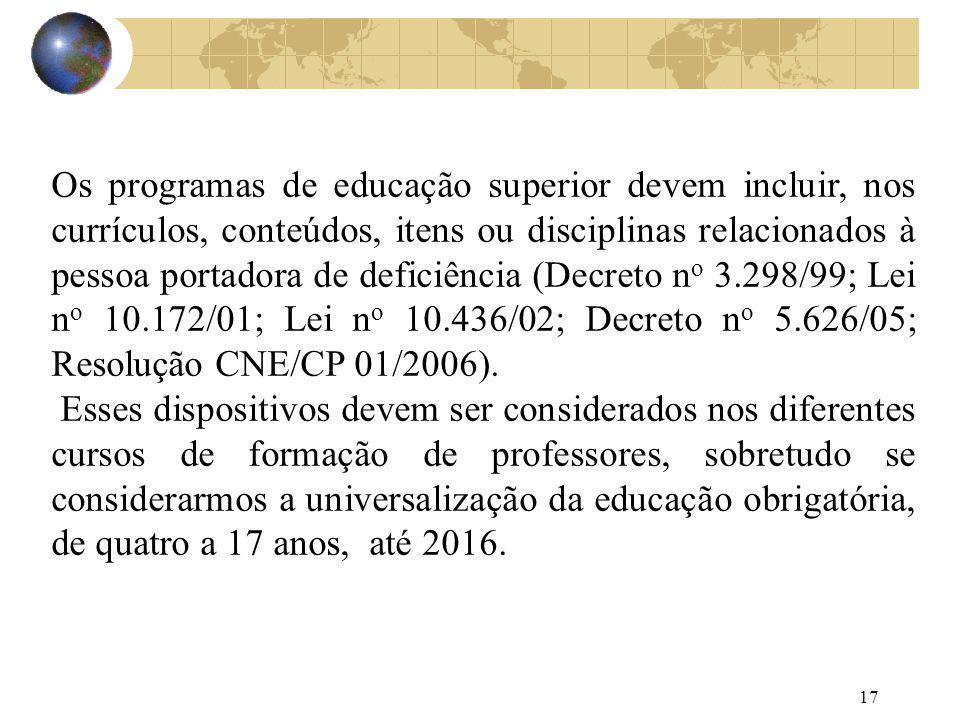 17 Os programas de educação superior devem incluir, nos currículos, conteúdos, itens ou disciplinas relacionados à pessoa portadora de deficiência (De