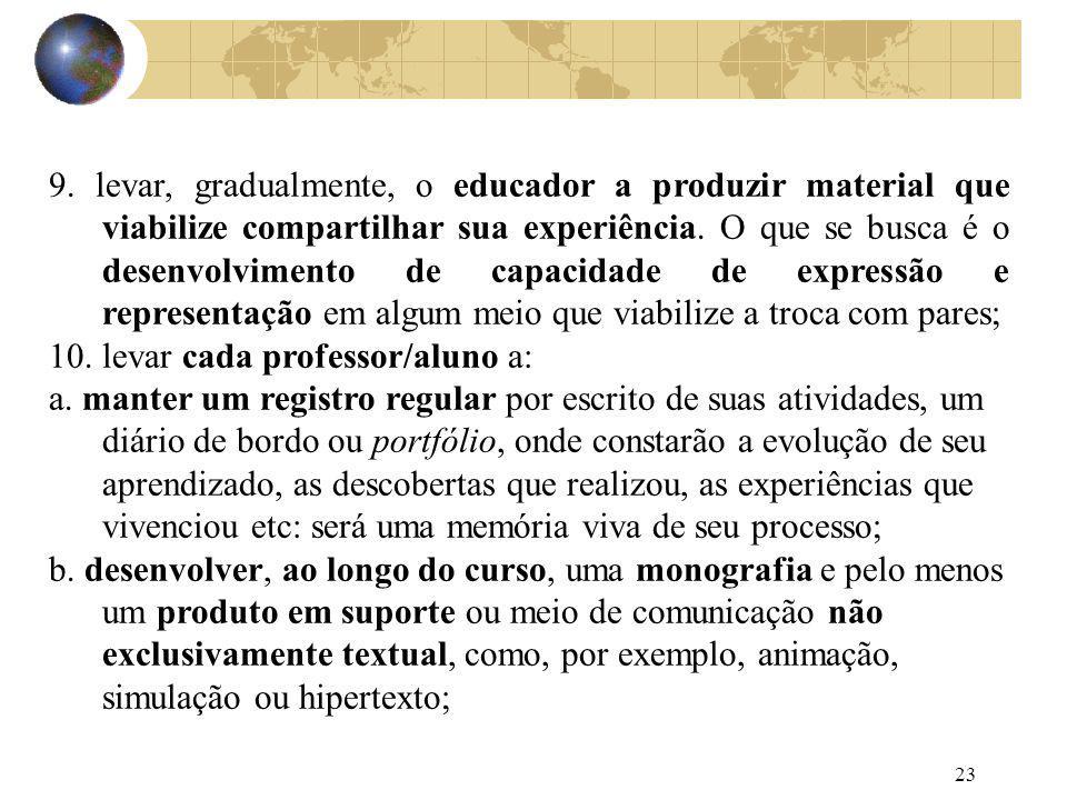 23 9. levar, gradualmente, o educador a produzir material que viabilize compartilhar sua experiência. O que se busca é o desenvolvimento de capacidade