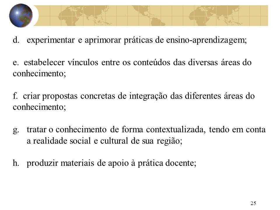 25 d.experimentar e aprimorar práticas de ensino-aprendizagem; e. estabelecer vínculos entre os conteúdos das diversas áreas do conhecimento; f. criar