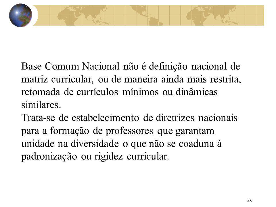 29 Base Comum Nacional não é definição nacional de matriz curricular, ou de maneira ainda mais restrita, retomada de currículos mínimos ou dinâmicas s
