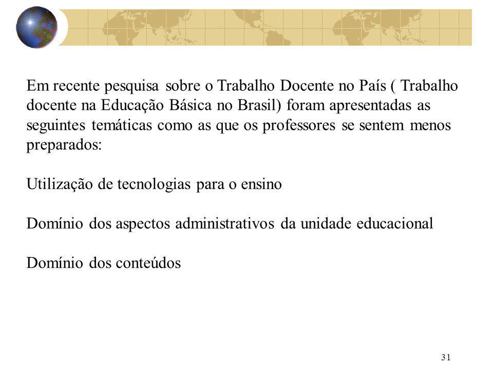 31 Em recente pesquisa sobre o Trabalho Docente no País ( Trabalho docente na Educação Básica no Brasil) foram apresentadas as seguintes temáticas com