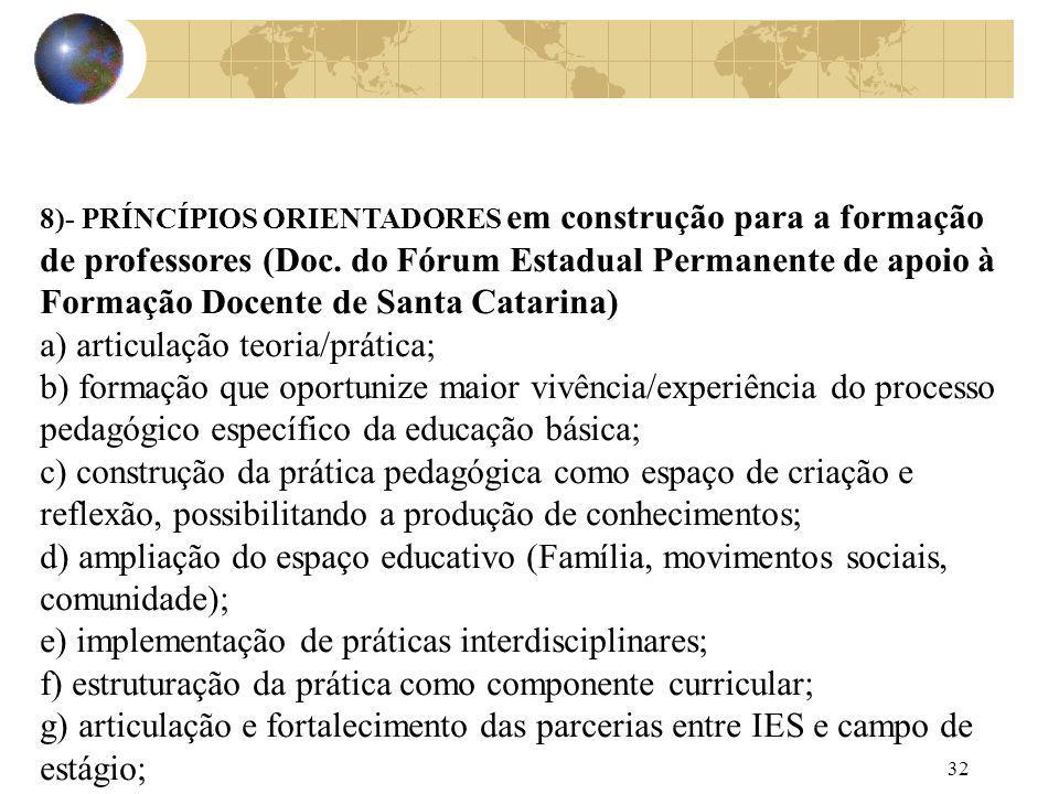 32 8)- PRÍNCÍPIOS ORIENTADORES em construção para a formação de professores (Doc. do Fórum Estadual Permanente de apoio à Formação Docente de Santa Ca