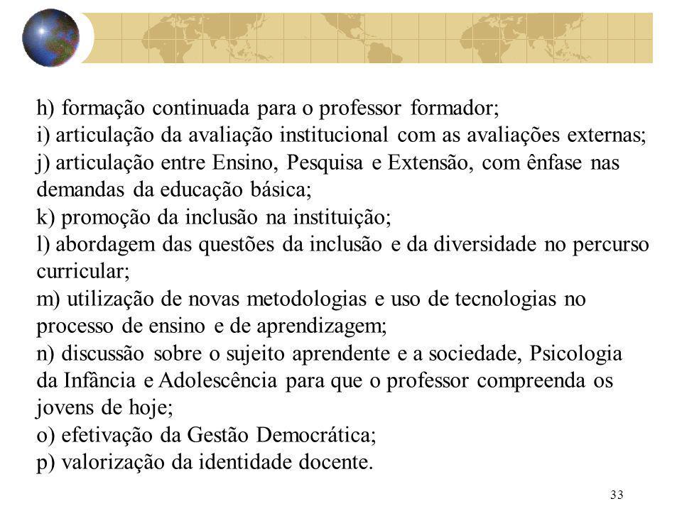 33 h) formação continuada para o professor formador; i) articulação da avaliação institucional com as avaliações externas; j) articulação entre Ensino