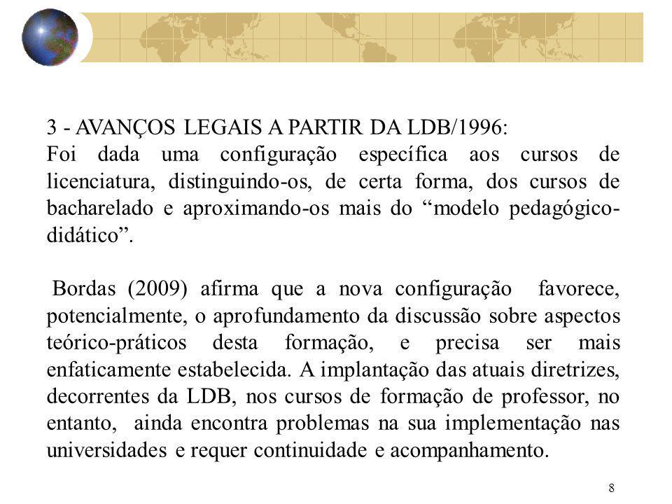 8 3 - AVANÇOS LEGAIS A PARTIR DA LDB/1996: Foi dada uma configuração específica aos cursos de licenciatura, distinguindo-os, de certa forma, dos curso