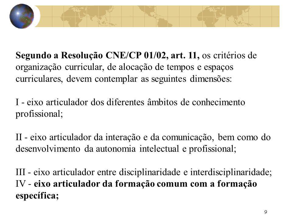 9 Segundo a Resolução CNE/CP 01/02, art. 11, os critérios de organização curricular, de alocação de tempos e espaços curriculares, devem contemplar as