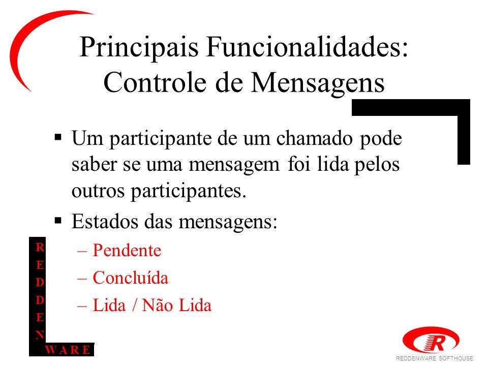 REDDENWARE SOFTHOUSE W A R E REDDENREDDEN Principais Funcionalidades: Controle de Mensagens  Um participante de um chamado pode saber se uma mensagem foi lida pelos outros participantes.