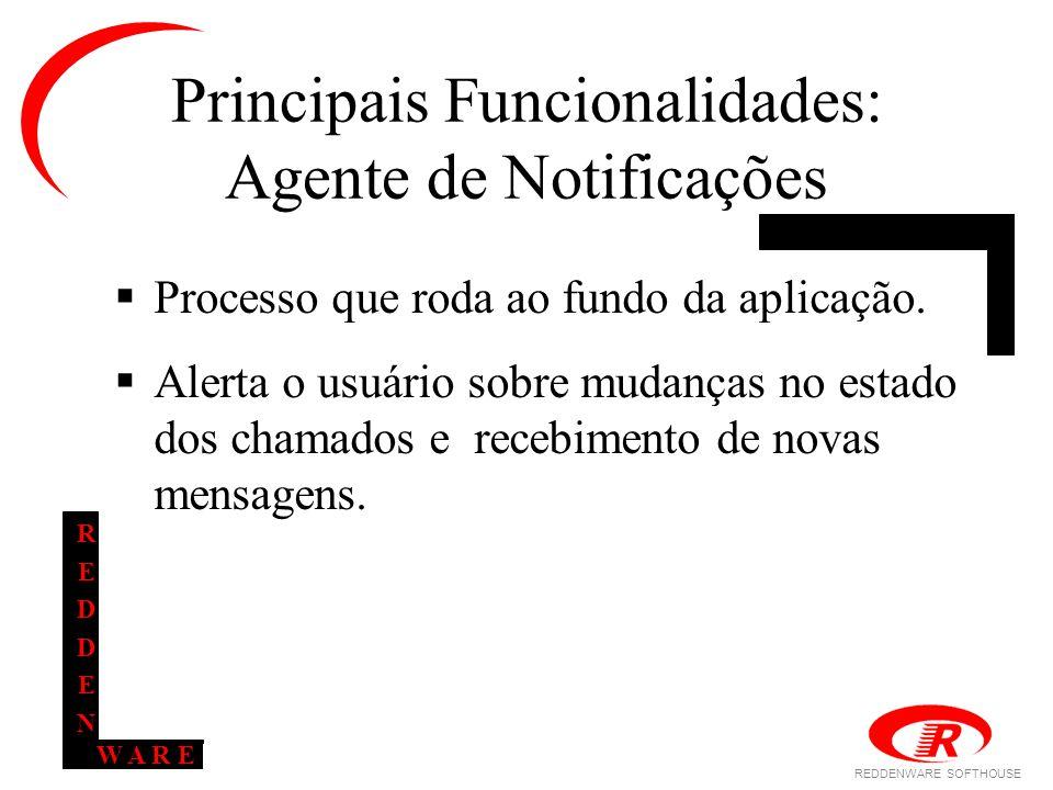 REDDENWARE SOFTHOUSE W A R E REDDENREDDEN Principais Funcionalidades: Agente de Notificações  Processo que roda ao fundo da aplicação.