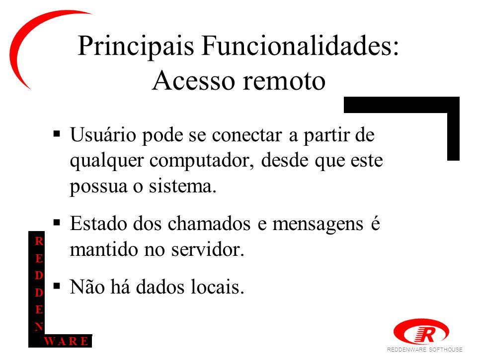REDDENWARE SOFTHOUSE W A R E REDDENREDDEN Principais Funcionalidades: Acesso remoto  Usuário pode se conectar a partir de qualquer computador, desde que este possua o sistema.